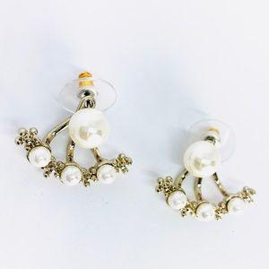 New! Vintage Pearl Floral Ear Jacket Earrings